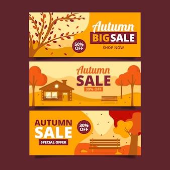 Collection de bannières de vente d'automne