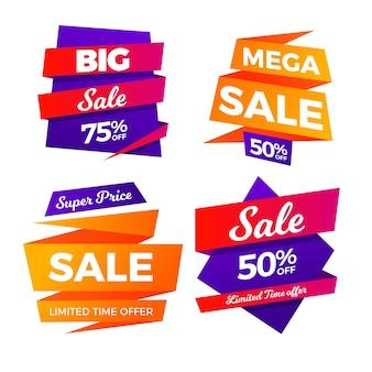 Collection de bannières de vente colorées dégradées