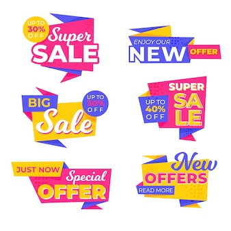 Collection de bannières de vente colorées
