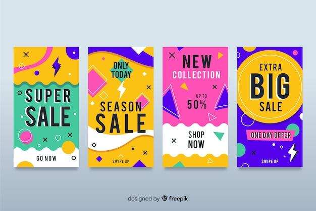 Collection de bannières de vente dans le style memphis