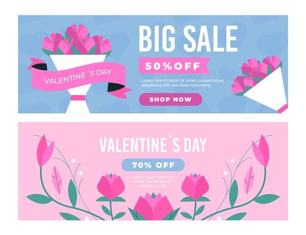 Collection de bannières de vente dessinées pour la saint-valentin