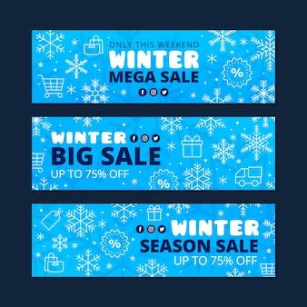 Collection de bannières de vente d'hiver plat