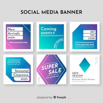 Collection de bannières de vente de médias sociaux