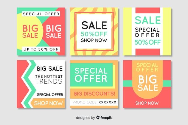Collection de bannières de vente mode médias sociaux