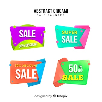 Collection de bannières de vente en origami