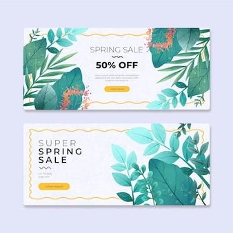 Collection de bannières de vente de printemps aquarelle