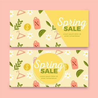Collection de bannières de vente de printemps dessinées à la main