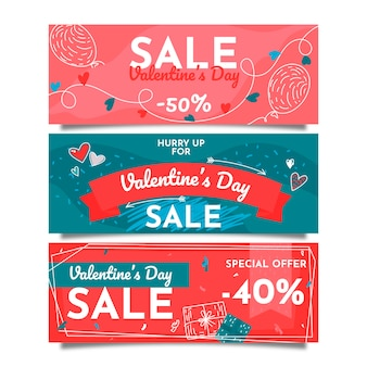Collection de bannières de vente saint valentin