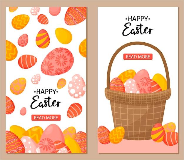 Collection de bannières verticales de pâques avec des oeufs décorés colorés et un panier d'oeufs.
