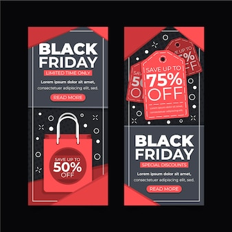 Collection de bannières verticales vendredi noir design plat