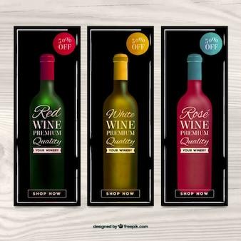 Collection de bannières de vin avec des remises