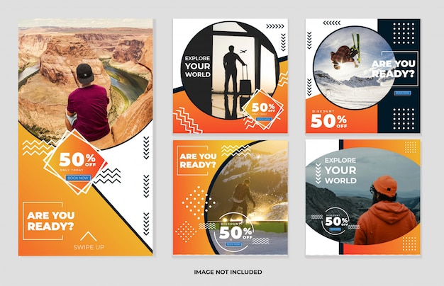 Collection de bannières de voyage pour les modèles de publications et d'histoires sur les réseaux sociaux
