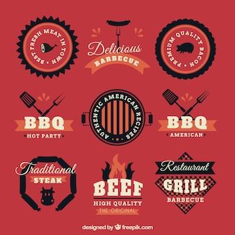 Collection de barbecue cru badge bbq