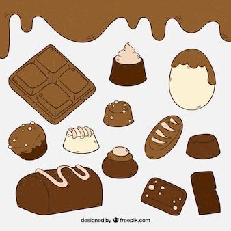 Collection de barres de chocolat dessinés à la main