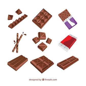 Collection de barres de chocolat et de morceaux