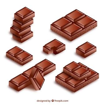 Collection de barres et de morceaux de chocolat dans un style réaliste