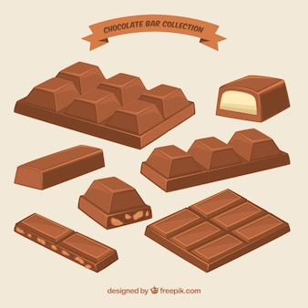 Collection de barres et de morceaux de chocolat avec différentes formes et saveurs