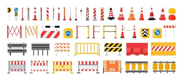 Collection de barrières et panneaux routiers.