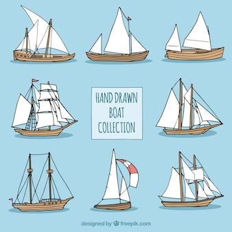 Collection de bateaux dessinés à la main