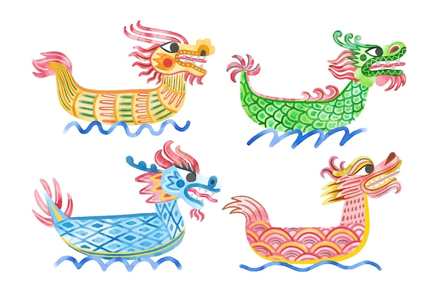 Collection de bateaux-dragons aquarelle peinte à la main