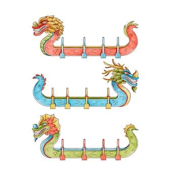 Collection de bateaux-dragons aquarelle peinte à la main