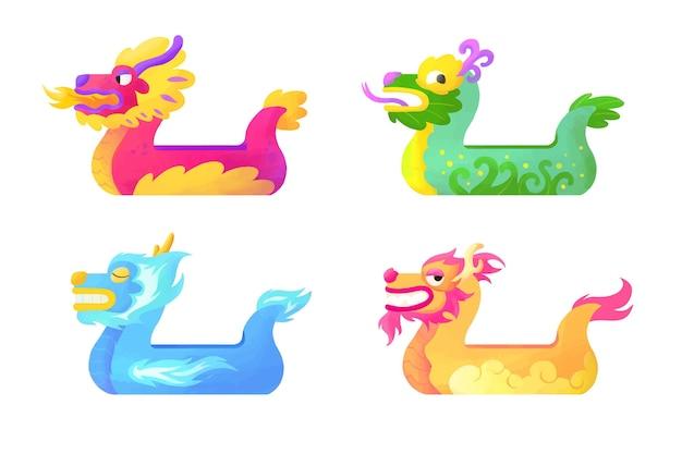 Collection de bateaux-dragons aquarelle