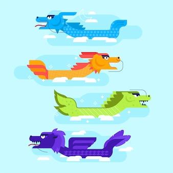 Collection De Bateaux-dragons Au Design Plat Vecteur gratuit