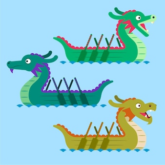 Collection de bateaux-dragons au design plat