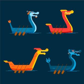 Collection de bateaux-dragons au design plat