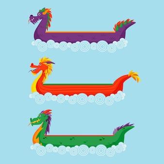 Collection de bateaux dragons design plat sur l'eau