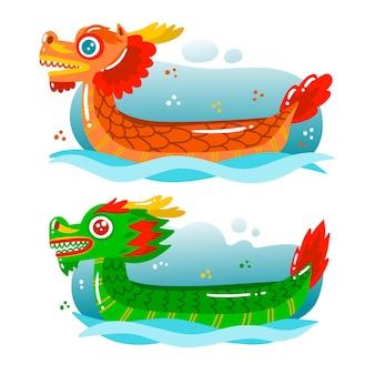 Collection de bateaux-dragons dessinés à la main