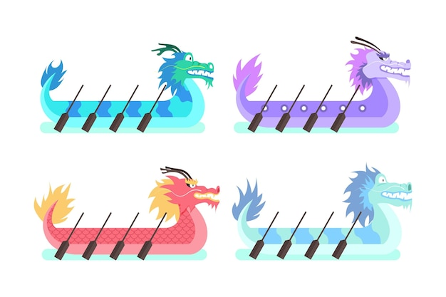 Collection de bateaux dragons dessinés à la main