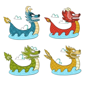 Collection de bateaux-dragons dessinés à la main