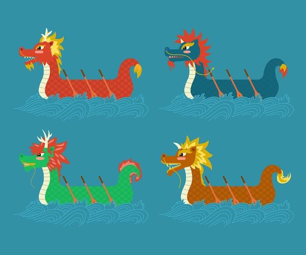 Collection de bateaux dragons plats