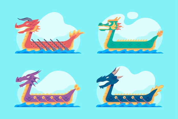 Collection de bateaux dragons plats