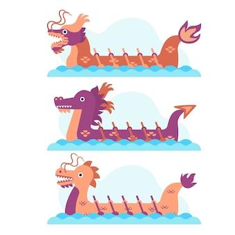 Collection de bateaux dragons et rameurs