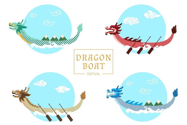 Collection de bateaux dragons traditionnels sur l'eau
