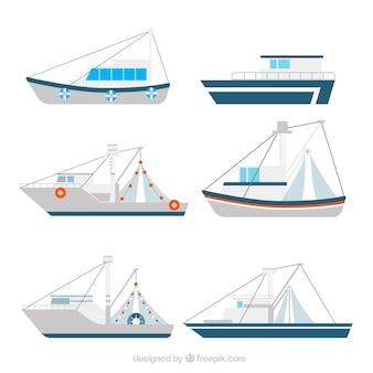 Collection de bateaux de pêche en conception plate
