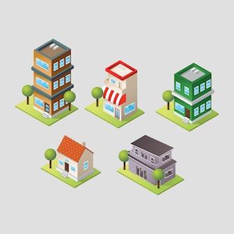 Collection de bâtiments isométriques