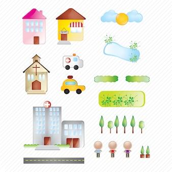 Collection de bâtiments et de la ville d'icônes sur fond blanc