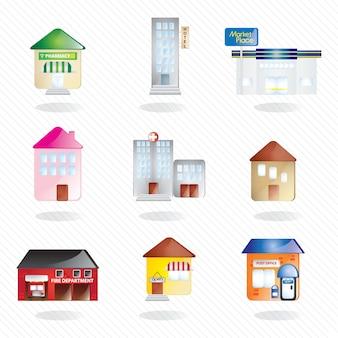 Collection de bâtiments et de la ville d'icônes (numéro 2) sur fond blanc