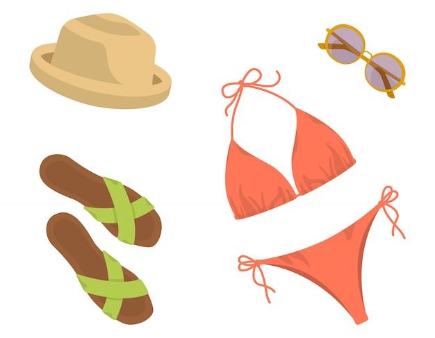 Collection beach de vêtements et accessoires pour femmes.