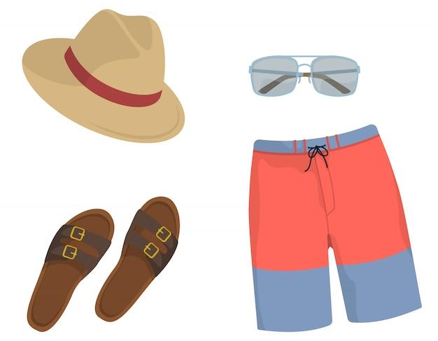 Collection beach de vêtements et accessoires pour hommes.