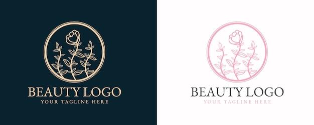 Collection de beauté féminine dessinée à la main et logo minimal botanique floral