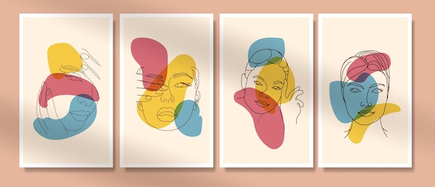Collection de beauté femme visage minimal dessiné à la main art boho milieu du siècle