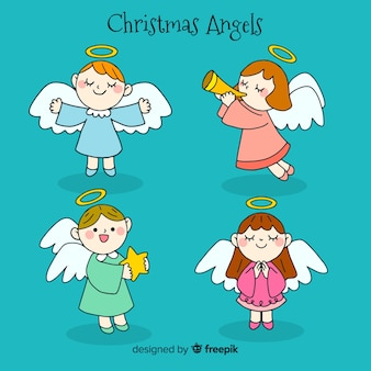 Collection de beaux anges de noël dessinés à la main