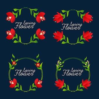 Collection beaux cadres de fleurs