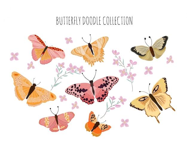 Collection de beaux papillons doodle