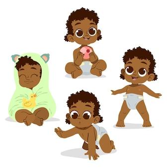 Collection de bébé noir dessiné à la main
