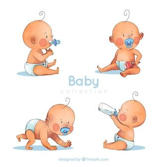Collection de bébés dans un style aquarelle